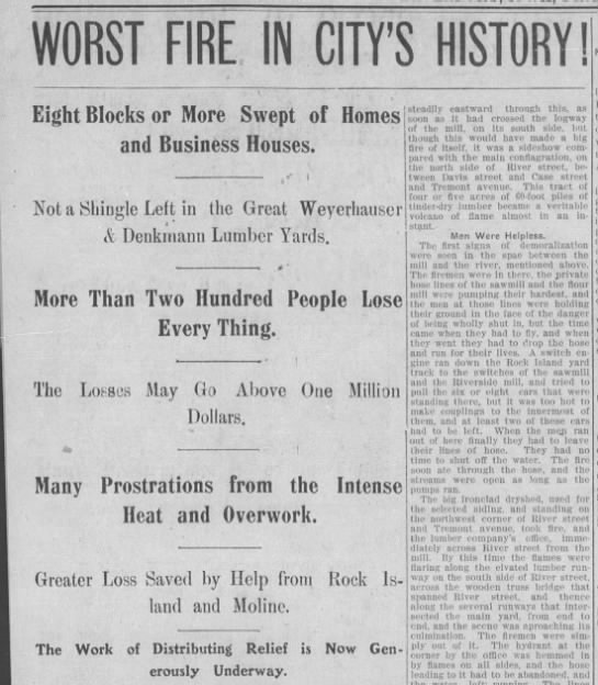 1901 Davenport fire - WORST FIRE IN CITY'S Eight Blocks or More Swept...
