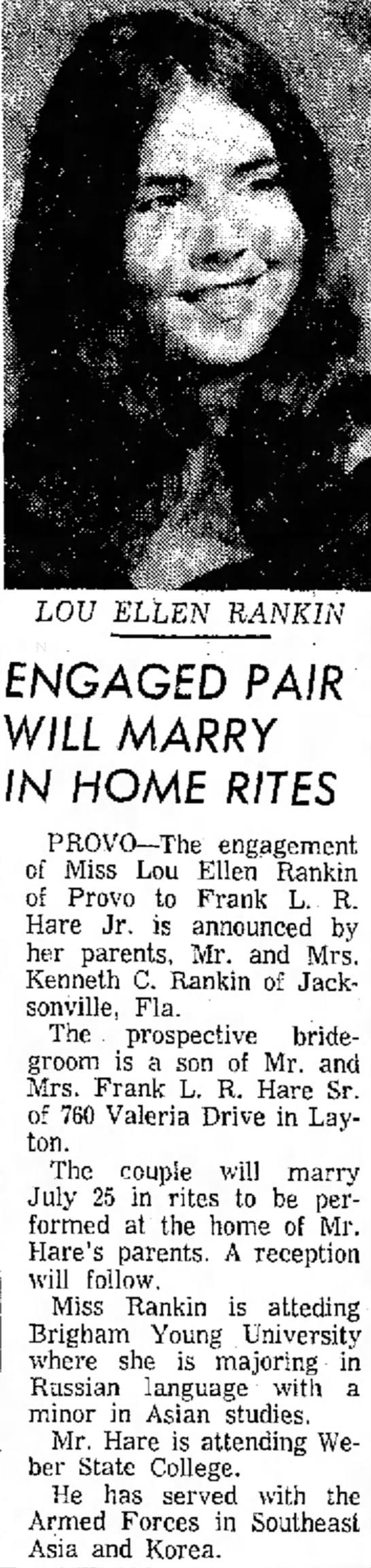 Frank L R Hare - In your case, LOU ELLEN RANKIN _ i \ · . - ·...