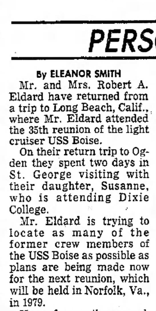 Ogden Standard Examiner Ogden Utah Sunday October 23, 1977 - By ELEANOR SMITH Mr. and Mrs. Robert Eldard...