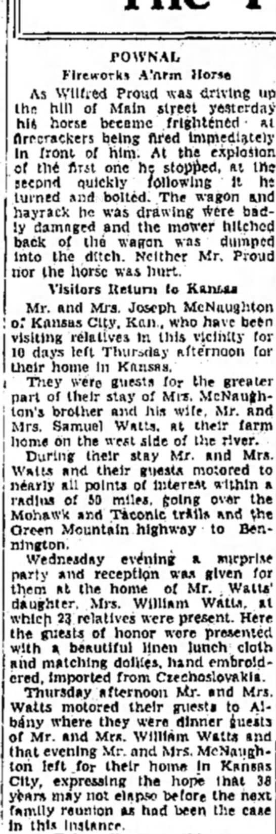 Sam Watts sister Tillie visits from Kansas City  July 3, 1934 - FOWNAL Fireworks A'ftrm Horn As Wilfred Proud...