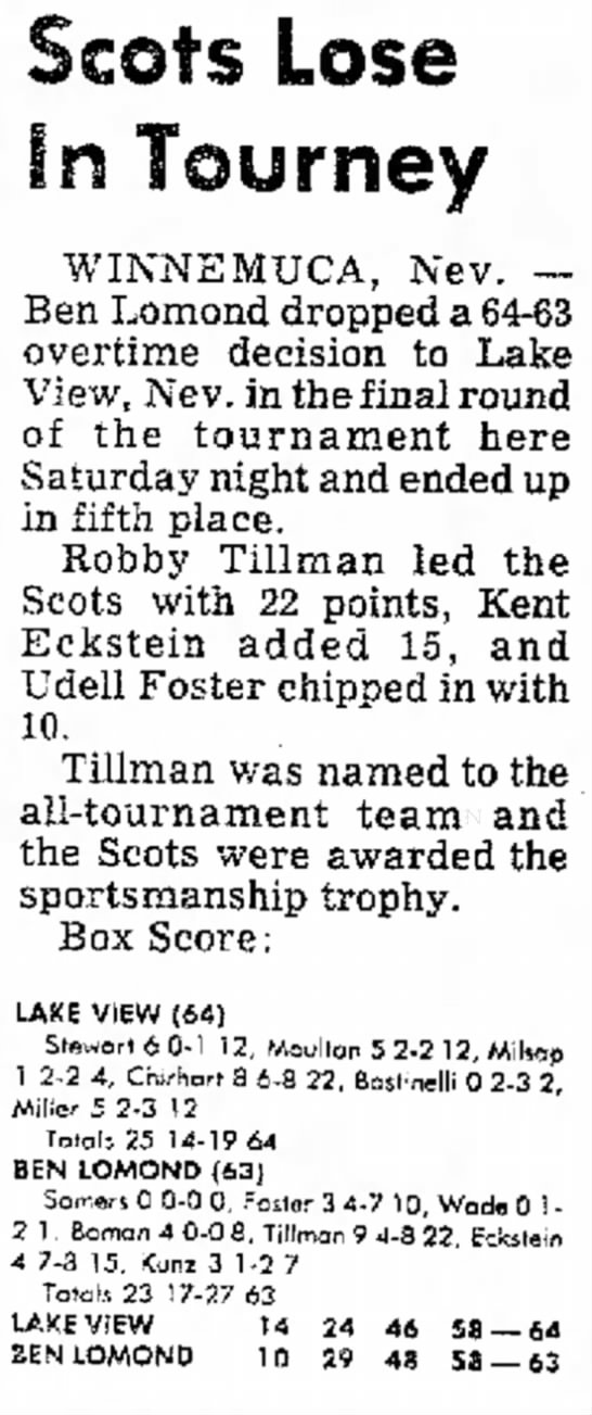 Kent Eckstein scores 15 pts in Basketball game - 6 - 107 4 - 106 0 00 Scots Lose In Tourney...