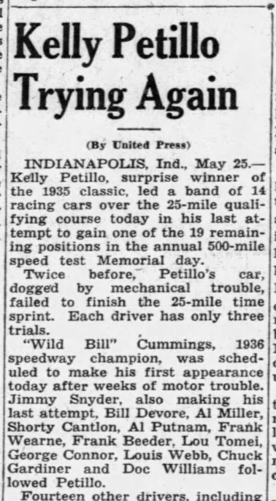 the miami news, may 25 1938 - Kelly Petillo Trying Again (By United Press)...
