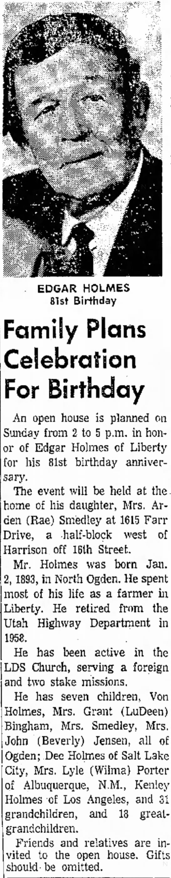 - EDGAR HOLMES 81st Birthday Family Plans...