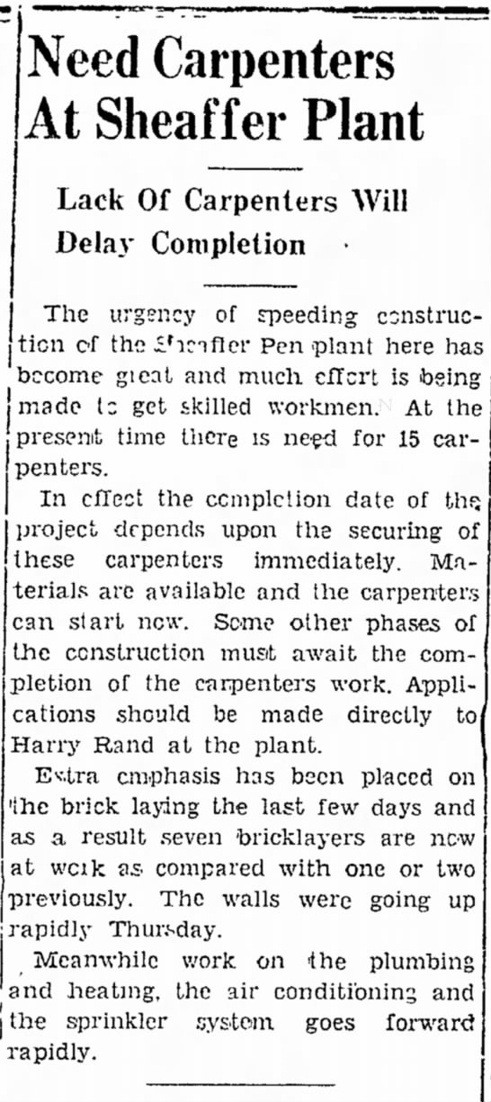 1946 Need Carpenters at Sheaffer Plant - Need Carpenters At Sheaffer Plant Lack Of...