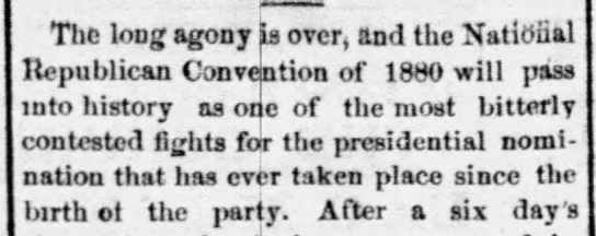 Republicans divided at 1880 National Convention