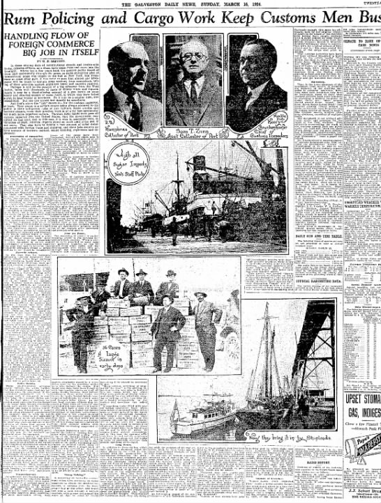 Custom Enforcement - cira 1924 images - THE GALVESTON DAILY NEWS, SUNDAY, MARCH 16,...