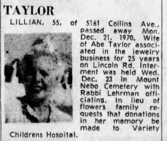 Lillian taylor Abes wife - TAYLOR LILLIAN, 55, of 5161 Collins Ave.,...