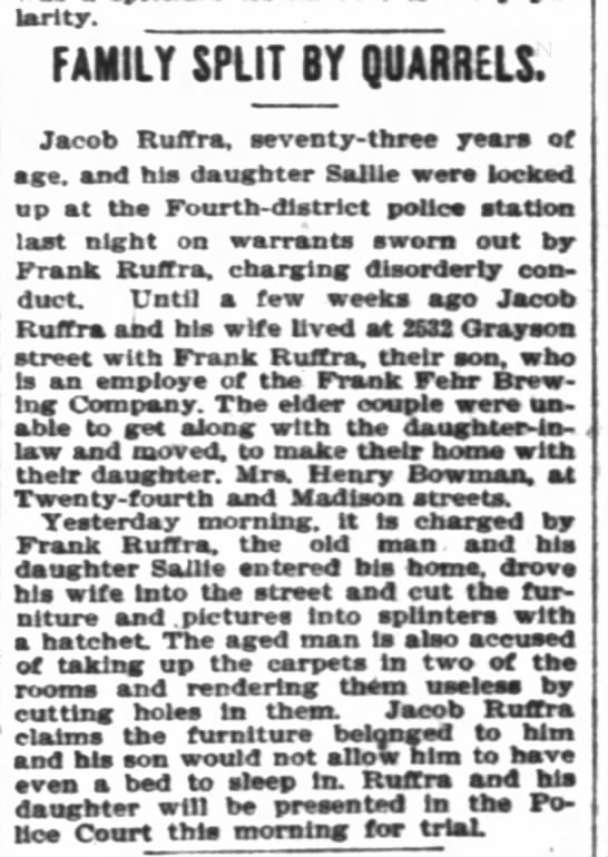 Ruffra family Quarrels 1898 Jacob, Sallie,  Frank - popularity. FAMILY SPLIT BY QUARRELS. Jacob...