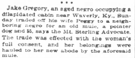 5 Dec 1895- Louisville, KY - a Jake Gregory, an eged negro occupying a...