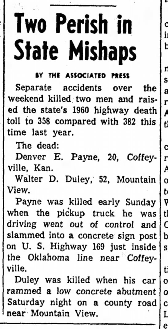 Walter Duley Death - Two Perish in State Mishaps If THE ASSOCIATED...