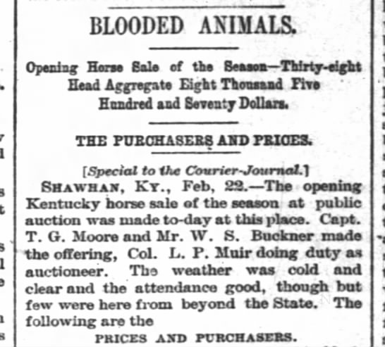 The Courier-Journal, Louisville, KY; 23Feb1882; Pg. 6 - BLOODED ANIMALS. Opening Ham Sole of the Besets...