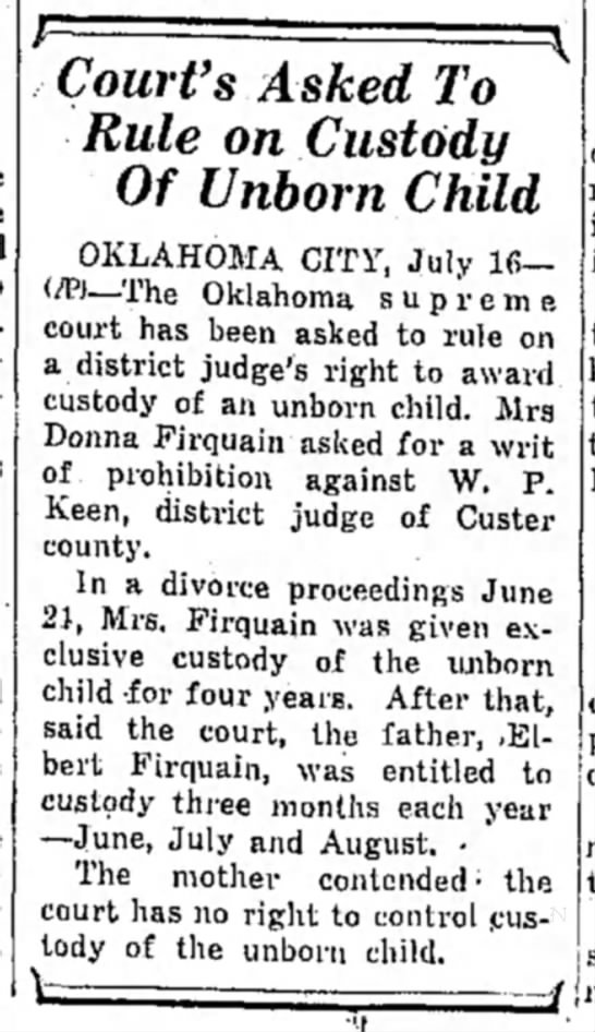 Firquain, Donna (Miami,OK 1948) - Court's Asked To Rule on Custody Of Unborn...