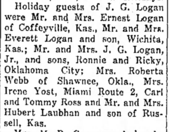 J.G. Logan holiday guests 1954 - Holiday guests of J. G. Logan were Mr. and Mrs....