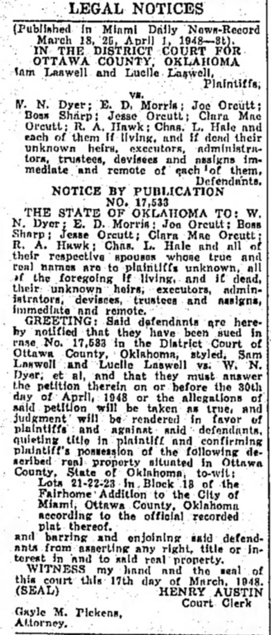 Orcutt lawsuit - LEGAL NOTICES (Published In Mlnml Diilly...
