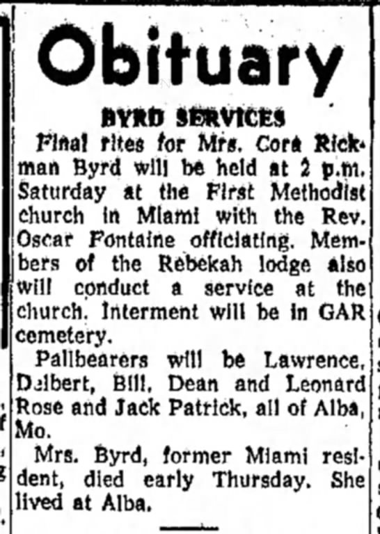 15 Feb 1957 Cora Rickman Byrd