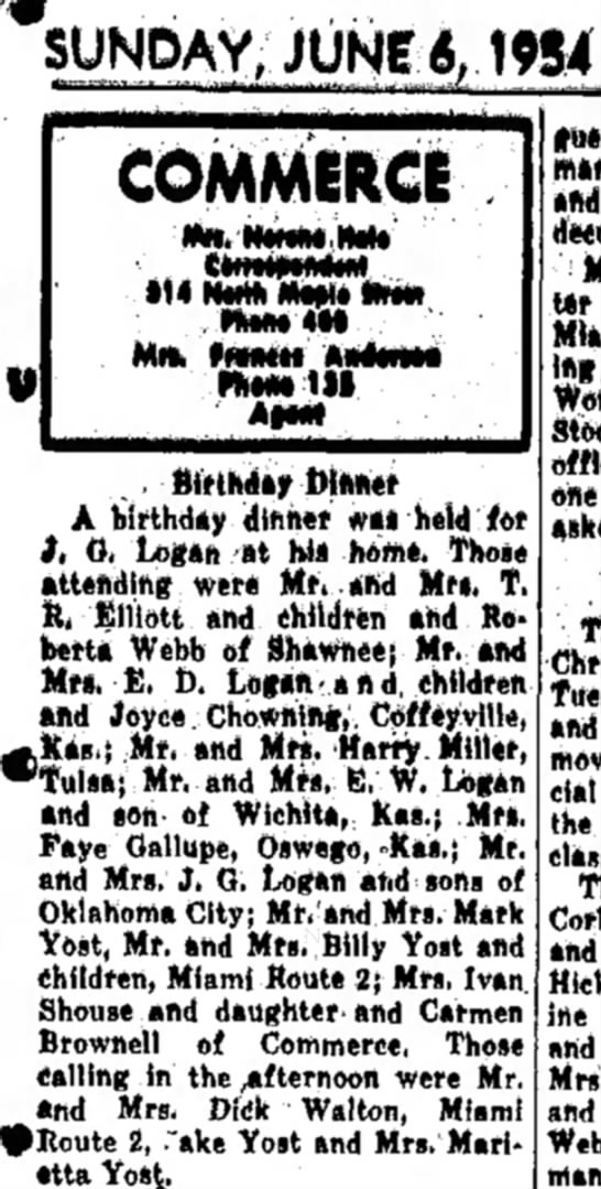 "Cap Logan birthday dinner 1954 - SUNDAY, ;JUN*4.1W4 ""-""""""'*~--~' -'•""* COMMERCE..."