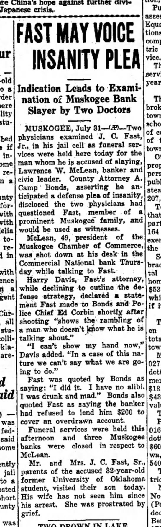 J.C. Fast may plead insanity article in Miami, OK paper 1 Aug 1937