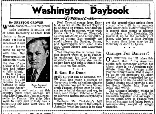 PONS-8 - Washington Daybook By PRESTON GROVER...