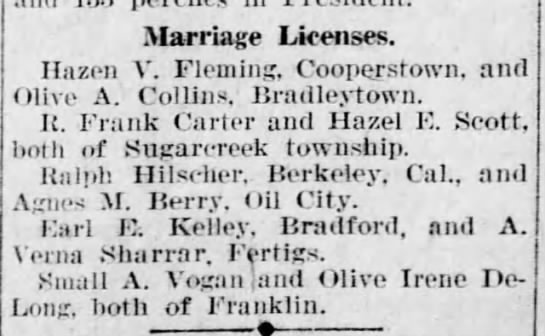 Verna Antha Elder Sharrar 1891-1952 - Marriage Licenses. Hazen V. Fleming,...