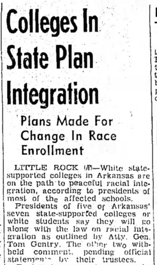 Arkansas Colleges to Be Racially Integrated - Colleges In State Plan Integration Plans Made...