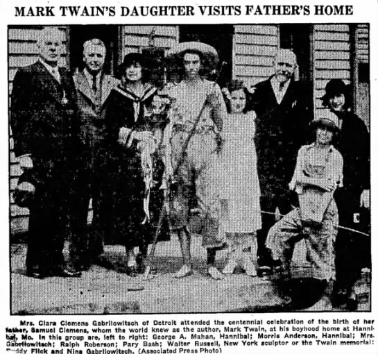 Miami Daily News-Record (Miami, Oklahoma) 28 April 1935  Page 13 - MARK TWAIN'S DAUGHTER VISITS FATHER'S HOME Mrs....