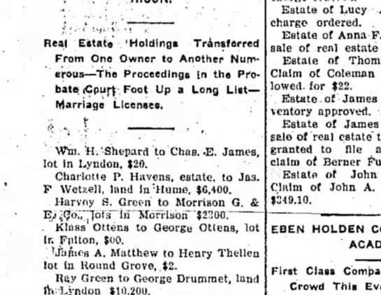 Klaas Ottens  George Ottens, Sterling Daily Gazette (Sterling, Illinois, 8 December 1905 - Real 'Estate 'Holdings Transferred From One...