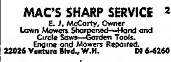 - MACS SHARP SERVICE 2 E. ). McCarty, Owner Lawn...