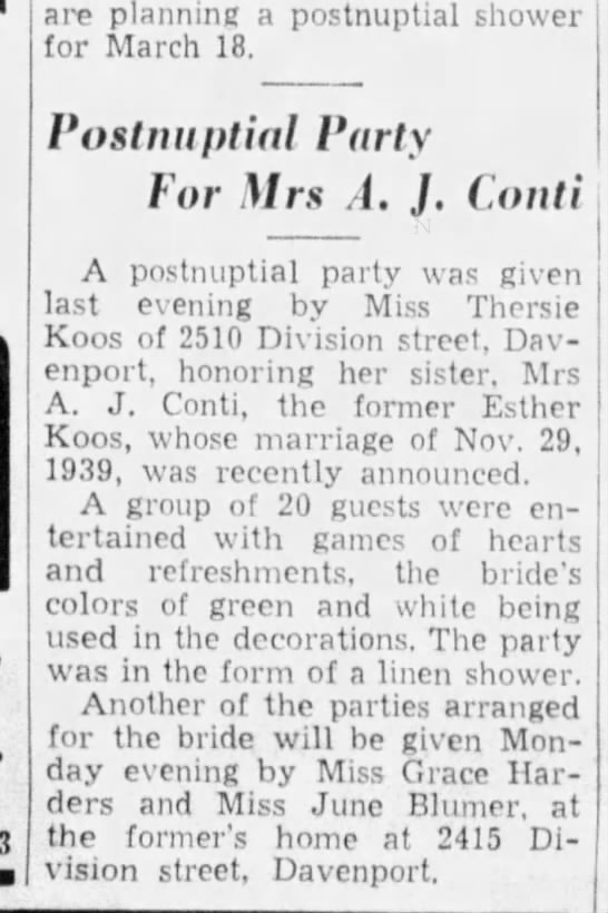 Esther Koos Wed party 1940 - are planning a postnuptial shower for March 18....