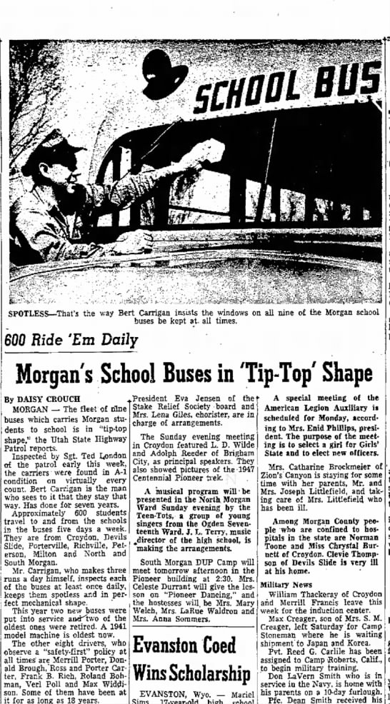 1953 Bert Carrigan cleaning bus windows - rules Mr. as be last will of begin be...