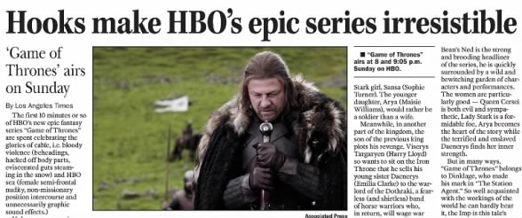 Review of Game of Thrones series debut, 2011