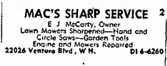 - 3-5928 MAC'S SHARP SERVICE 2 E J McCarty, Owner...