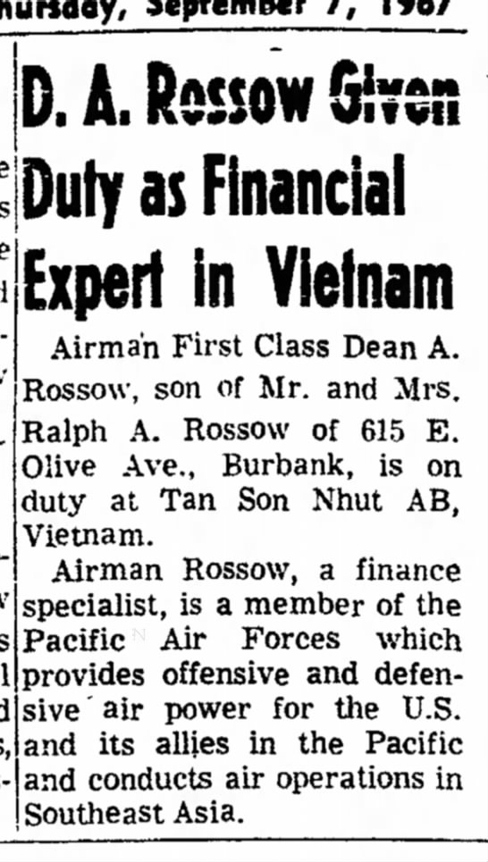 - September 7, 1967 the may new D. A. Rossow Duty...