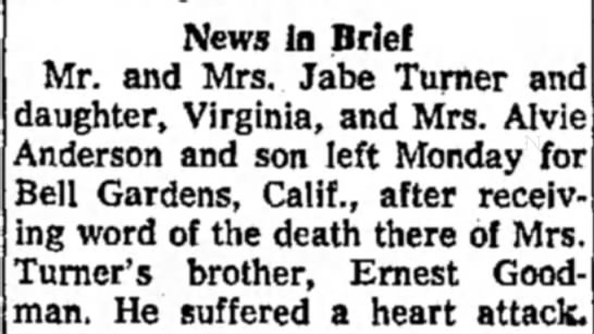 Ernest Goodwin's death - News in Brief Mr. and Mrs. Jabe Turner and...