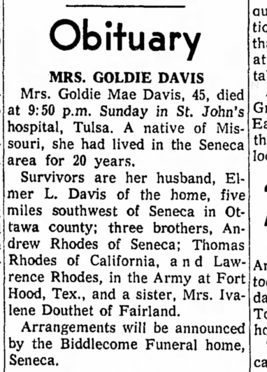 - Obituary MRS. GOLDIE DAVIS Mrs. Goldie Mae...