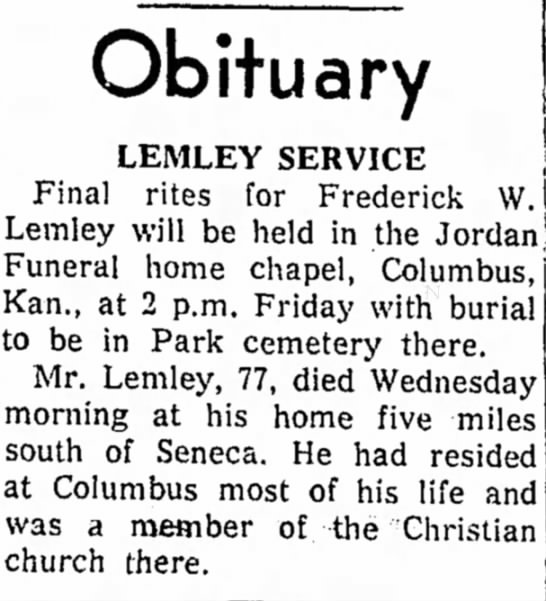 Frederick Lemley obit - Obituary LEMLEY SERVICE j Final rites for...