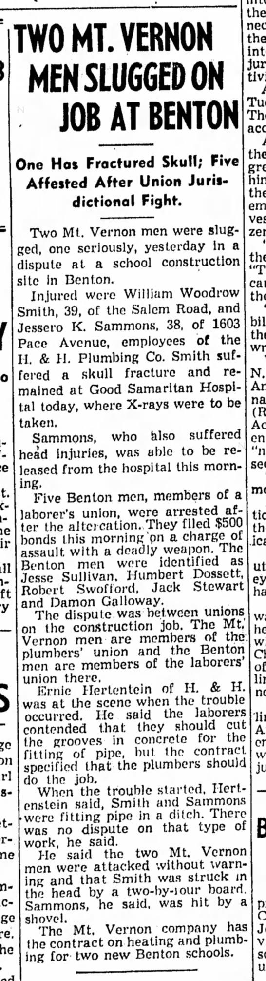 William Woodrow Smith - TWO MT. VERNON MEN SLUGGED ON JOB AT BENTON One...