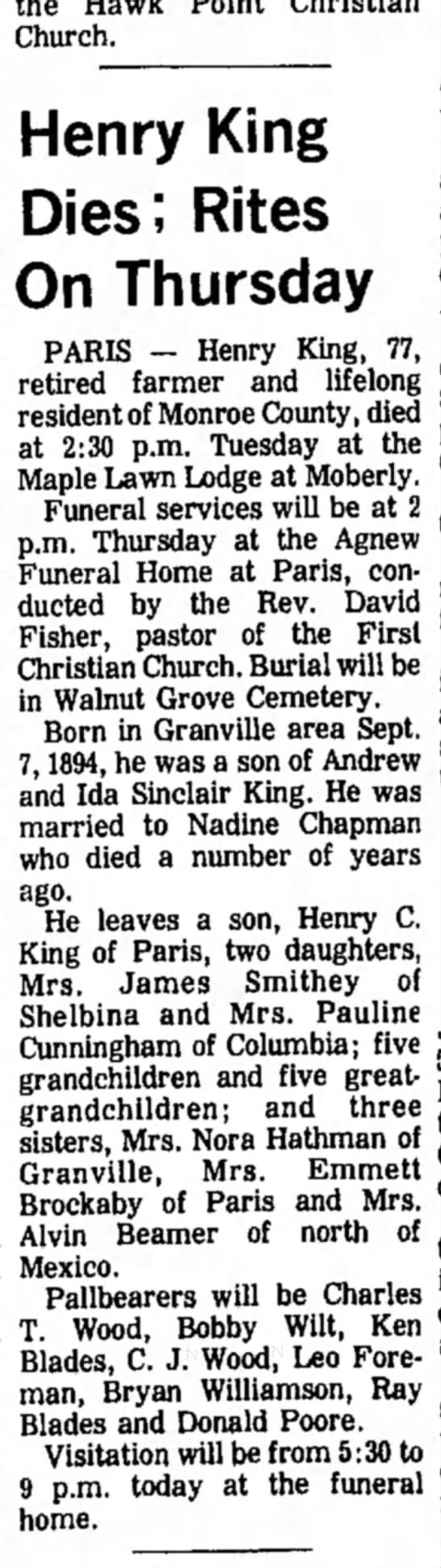 John Henry King Obituary - Church. Henry King Dies; Rites On Thursday...