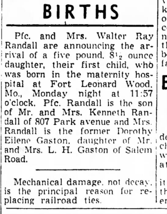 Birth 28 Dec 1953 - BIRTHS I Pfc. and Mrs. Walter Ray ' Randall are...