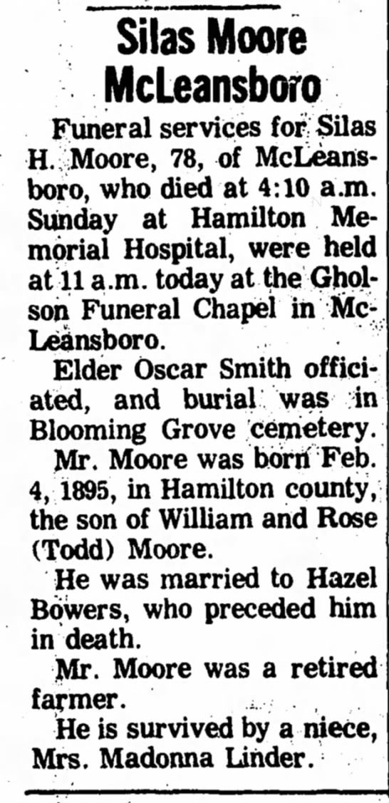 - Silas Moore McLeansboro Funeral services for...