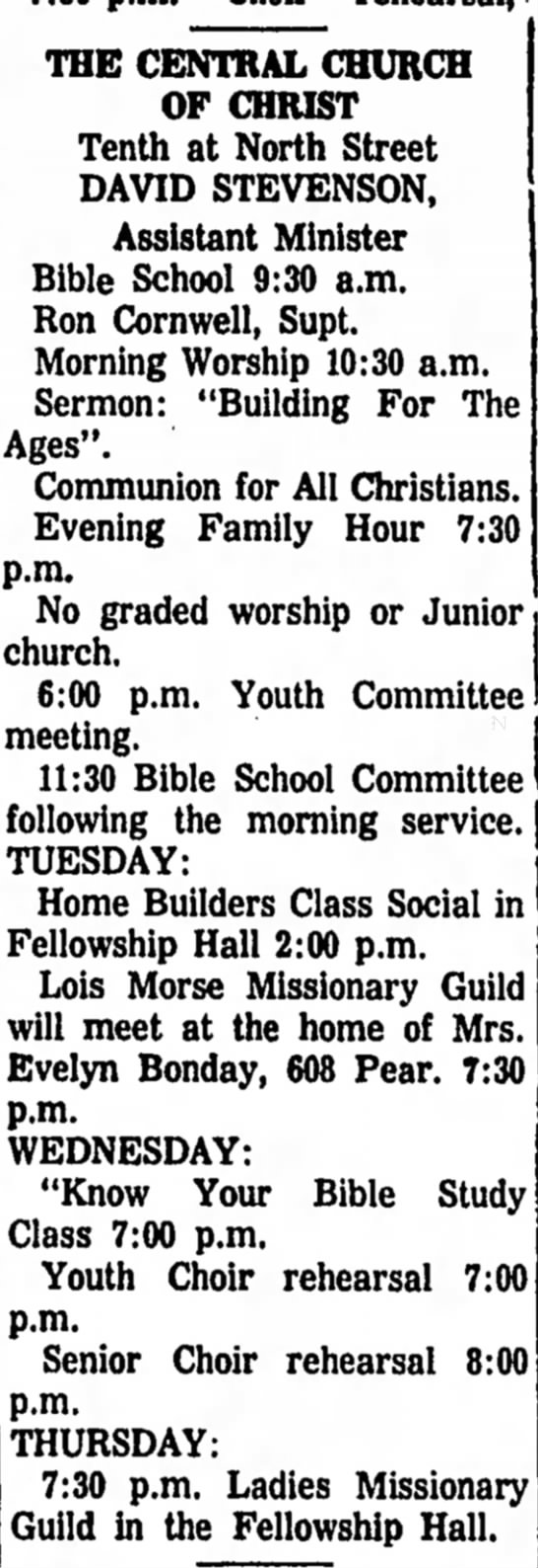 1972 July 29 Ron Cornwell Sunday School Superintendent - THE CENTRAL CHURCH OF CHRIST Tenth at North...