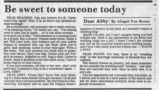 Dear Abby Wedding Ring SDA - Be sweet to someone today DEAR READERS: Can you...