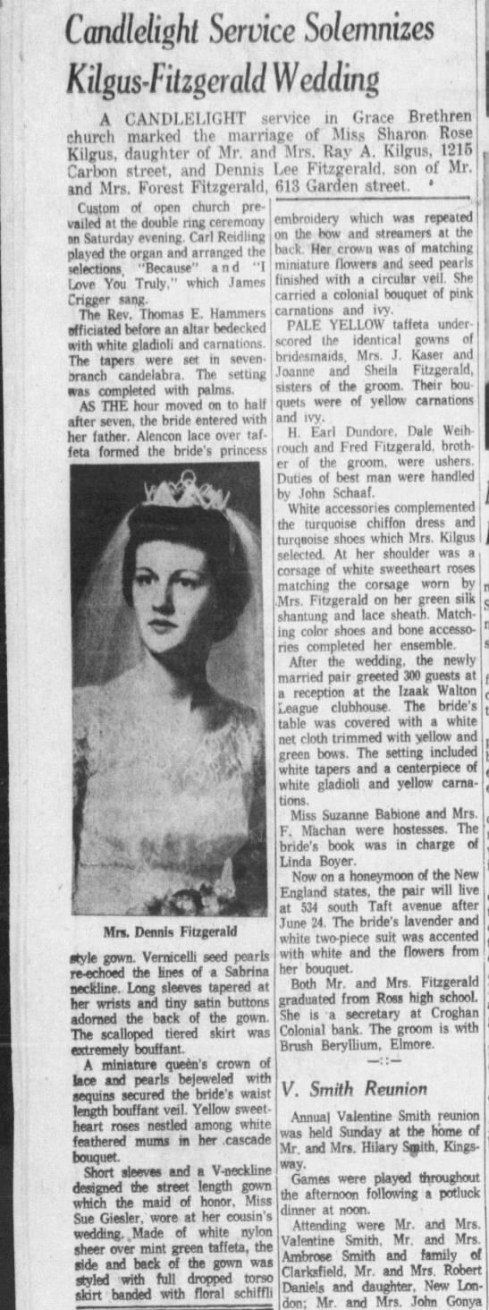 DENNIS FITZGERALD MARRIAGE 19 JUNE 1961 FREMONT,OHIO - Cmdlelighi Service Solemnizes Kilgusfilzgcrcdd...