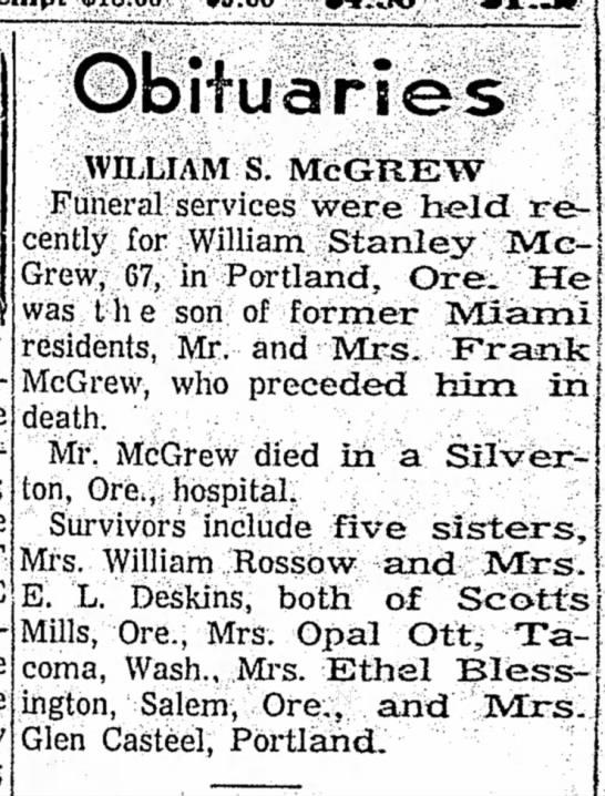 - ObiTuarl es WILLIAM S. McGREW Funeral services...