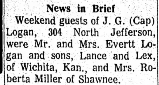 Everett family visits Cap - Nov 1967 - News in Brief Weekend guests of J. G. (Cap)...
