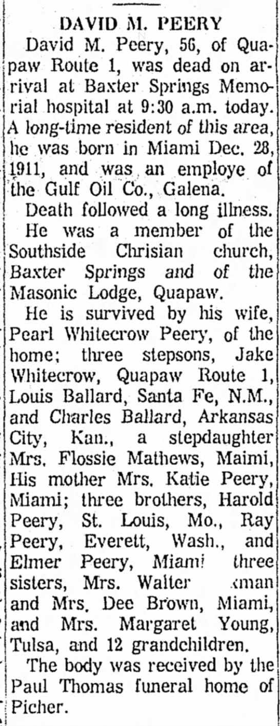 Miami Daily News Record, David M. Peery, Monday, 20 May 1968, pg 3, col. 2 - DAVID M. PEERY David M. Peery, 56, of Quapaw...