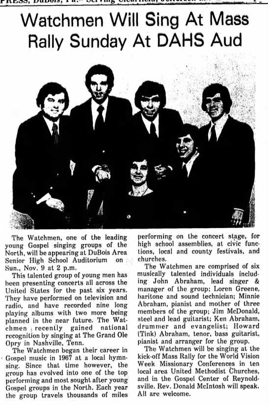 Dubous Concert Nov 8 1975 - Watchmen Will Sing At Mass Rally Sunday At DAHS...