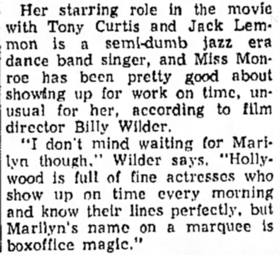 "On ""Some Like it Hot"" - Her starring role in the movie with Tony Curtis..."