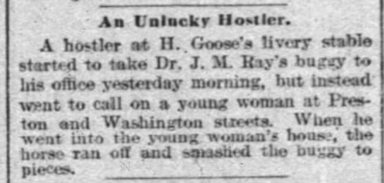 Unlucky Hostler at Goose livery stable.  1 Sept. 1894 - - Aa I'nlacky Hostler, A hostler wt II. Goose's...