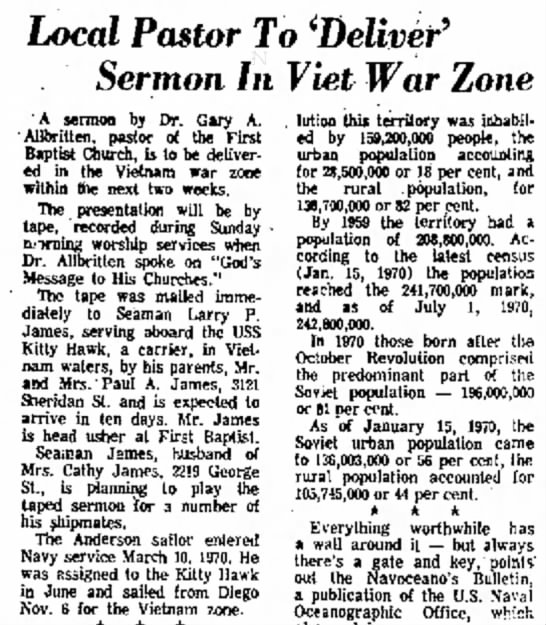 - Local Pastor To 'Deliver 9 Sermon In Viet War...