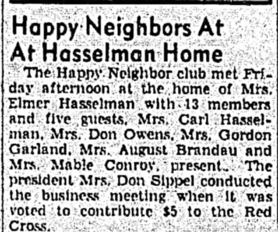 Mrs. Mable Conroy Mar 19, 1951 Sterling Daily Gazette - Happy Neighbors At At Hasselman Home 1 The...